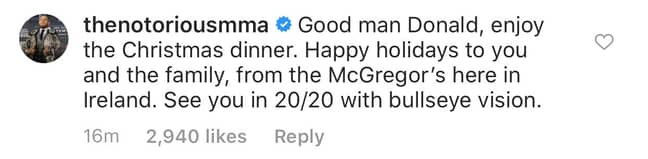 McGregor's comment on Instagram.