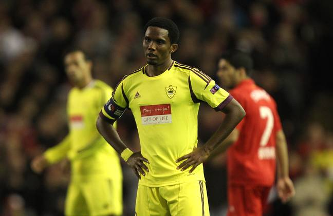 Eto'o playing against Liverpool in the Europa League. Image: PA Images