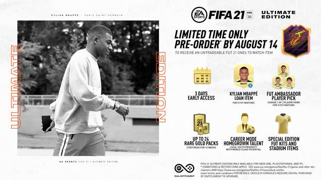 Pre-order bonuses for Ultimate Edition: One To Watch which is available until August 14. (Image Credit: EA Sports)