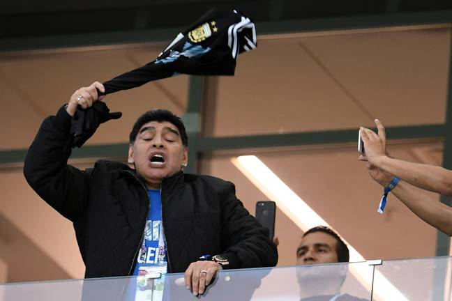 Maradona cheers on Argentina at the 2018 World Cup. Image: PA Images