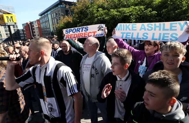 Fans protest outside St James' Park. Image: PA Images