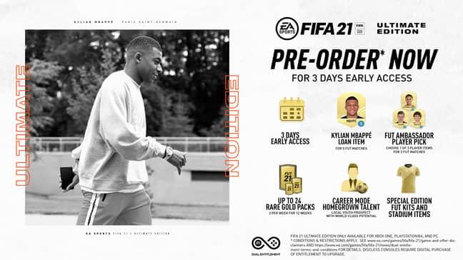 Pre-order bonuses for Ultimate Edition. (Image Credit: EA Sports)
