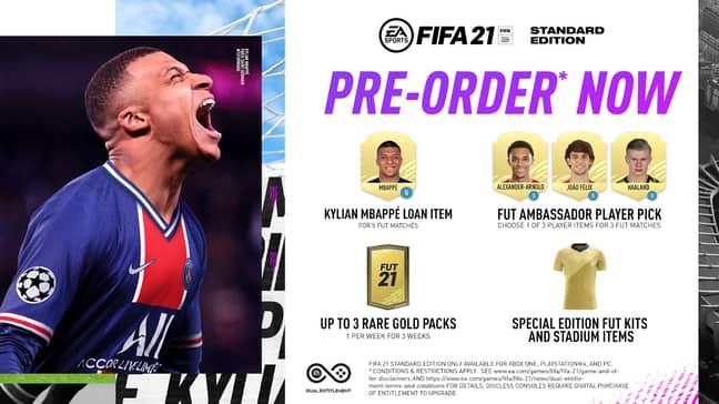 Pre-order bonuses for Standard Edition. (Image Credit: EA Sports)
