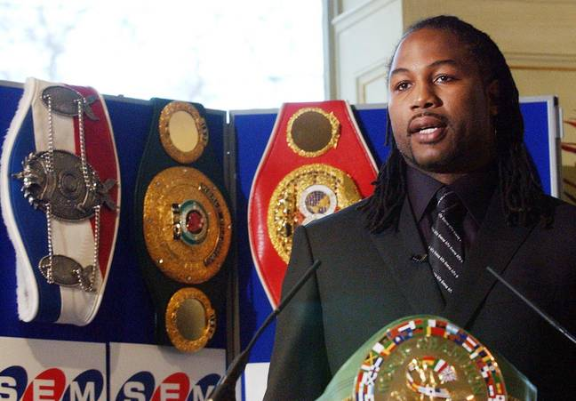 Lennox Lewis with four of the belts that made him an undisputed champions. Image: PA Images
