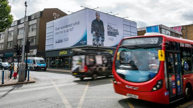 The billboard is just around the corner from Stamford Bridge on Putney High Street. Credit: Twitter
