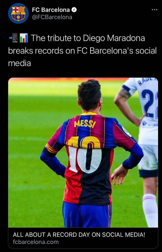 Barcelona's offending tweet. Image: PA Images