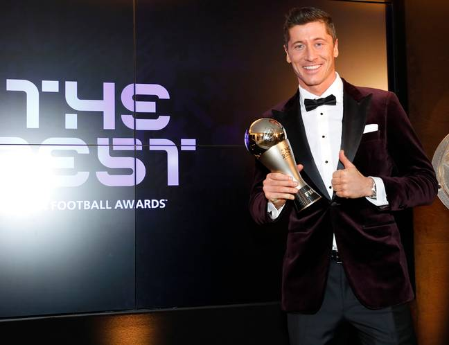 Lewandowski with the trophy that made him the world's best player last December. Image: PA Images