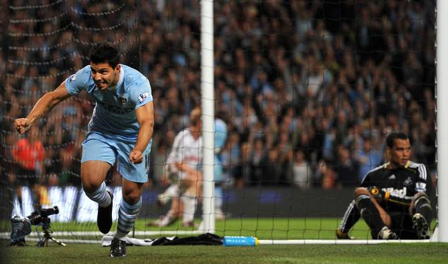 Aguero celebrates his first goal for the club. Image: PA Images