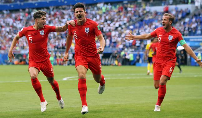 Maguire celebrating his goal in the World Cup quarter final. Image: PA Images