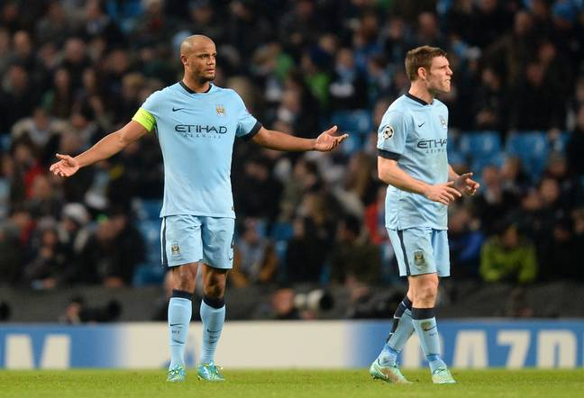 Kompany and Milner playing together at Manchester City. Image: PA Images