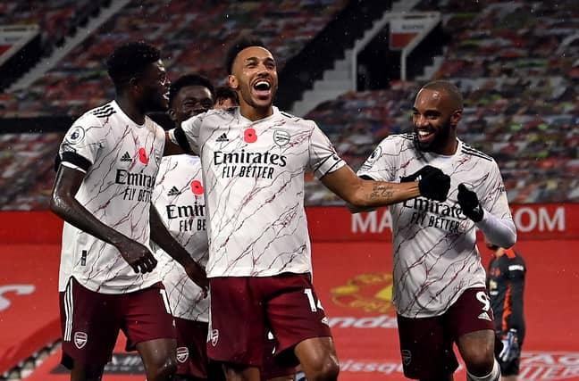 Aubameyang celebrates his goal against United. Image: PA Images