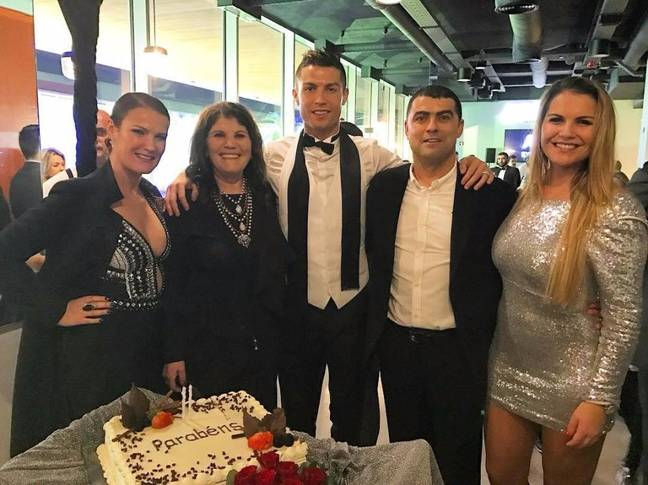 Ronaldo with his family, mum Dolores to the left and brother Hugo on the right. Image: @cristiano