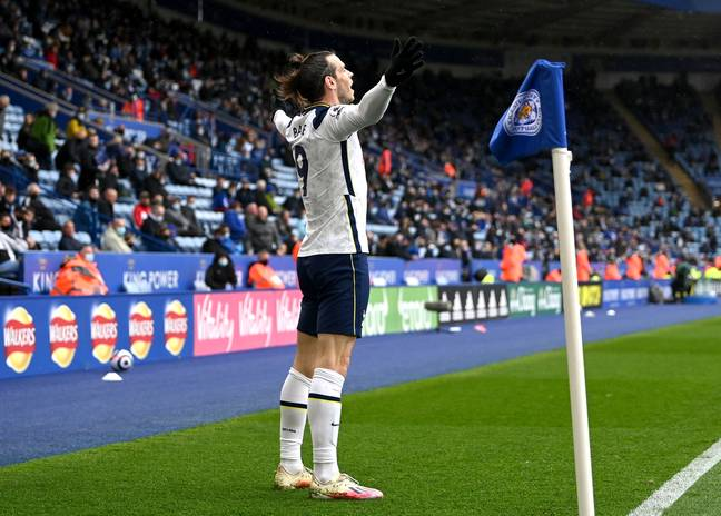 Bale celebrates against Leicester. Image: PA Images