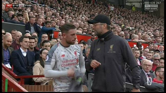Klopp discusses with his captain. Image: Sky Sports