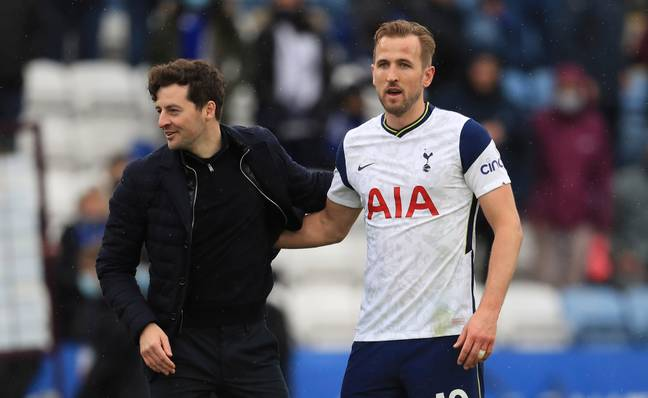 Ryan Mason, who was in charge of Spurs after Mourinho left, with Harry Kane on the final day of the season. Image: PA Images