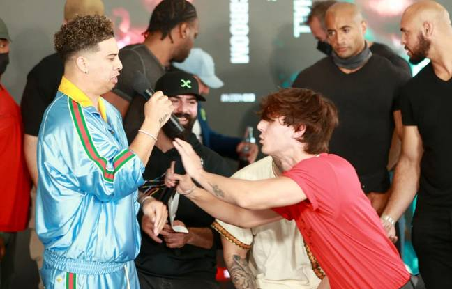 TikTok star Bryce Hall and YouTuber Austin McBroom scrapped during their press conference