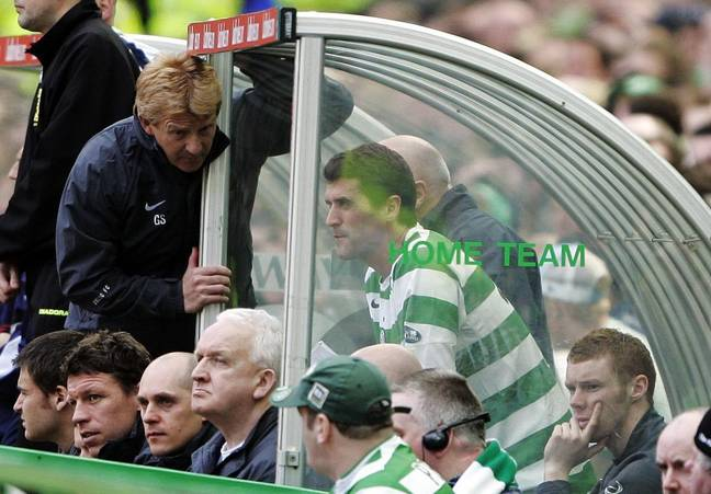 Keane after he was subbed off in the Old Firm game in April 2006. Image: PA Images
