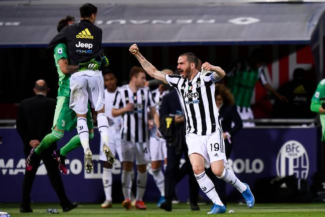 Juventus players celebrate qualifying for a competition their club no longer wanted to be a part of. Image: PA Images