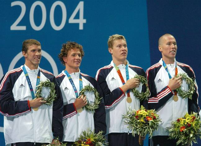 The men's swimming team that represented the US at Athens. Credit: PA