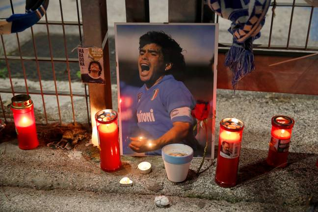Napoli fans have paid tribute to Maradona outside the club's stadium. Credit: PA