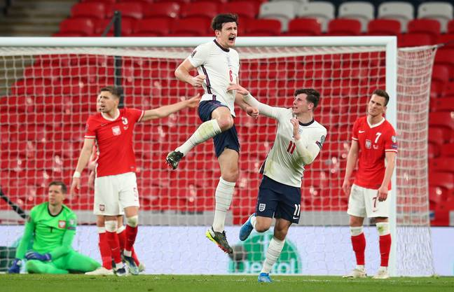 Maguire celebrates his winning goal against Poland last week. Image: PA Images