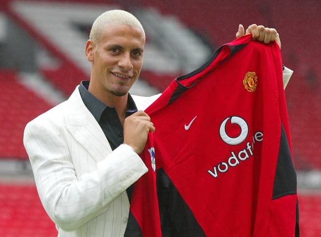 Ferdinand on day one at United with his bleach blonde hair. Image: PA Images