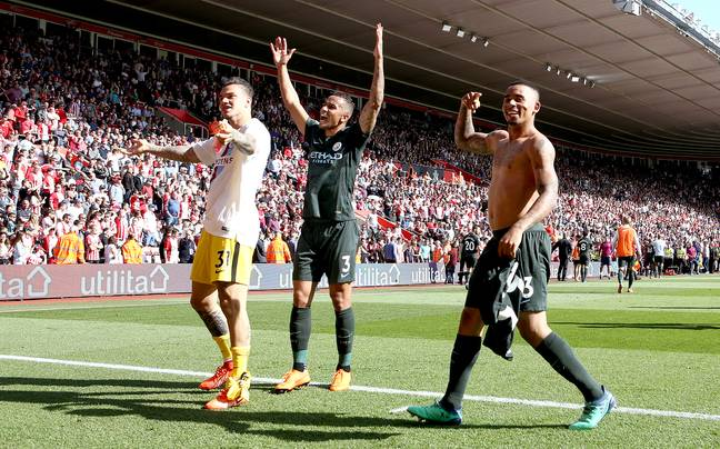 Jesus celebrates the title win after his goal secured the 100th point. Image: PA Images