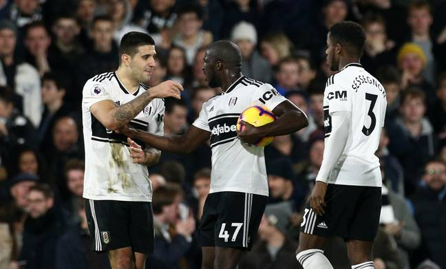 Kamara and Mitrovic arguing over the penalty. Image: PA Images