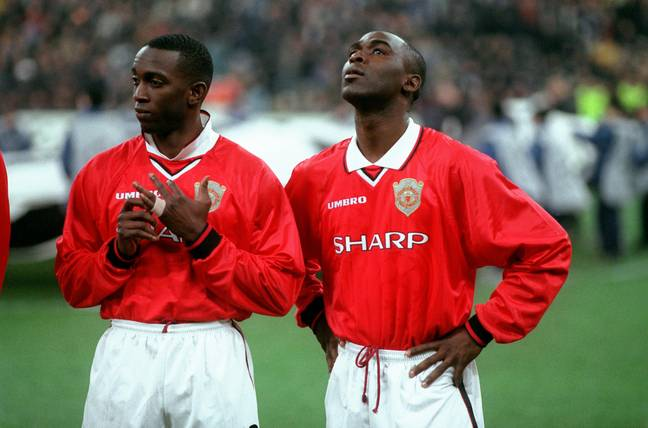 Dwight Yorke and Andy Cole during their Manchester United days. Credit: PA