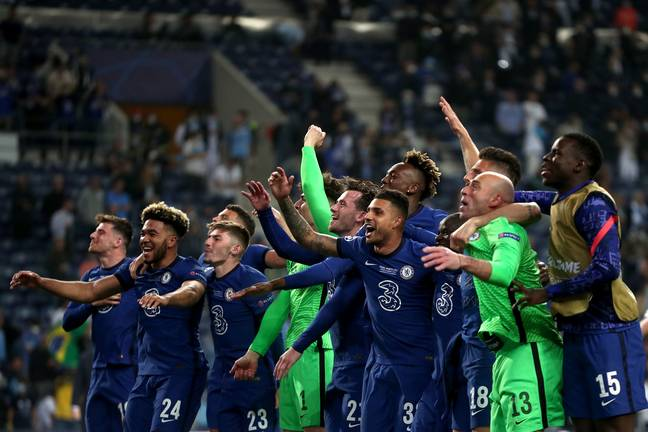 Chelsea players celebrate their Champions League final win with fans. Image: PA Images