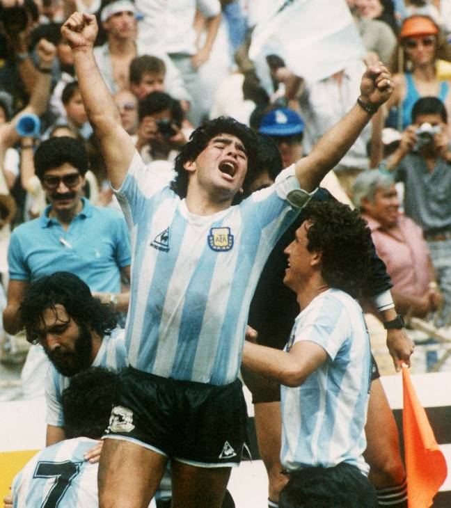 Maradona lifting the World Cup in 1986 (Image Credit: PA)