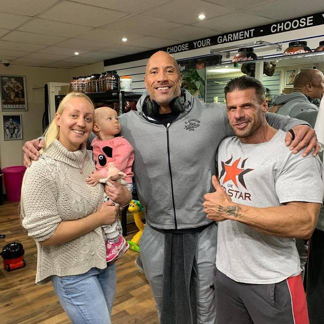 The Rock was taking a break from filming a new movie close by. Credit: SWNS
