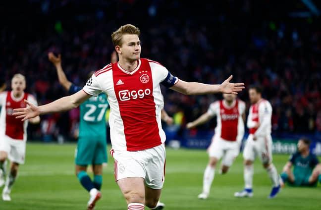 De Ligt celebrates scoring in the Champions League semi final. Image: PA Images