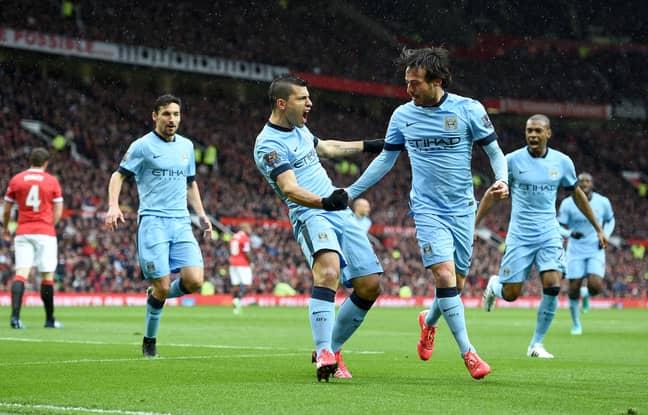 Aguero celebrates scoring at Old Trafford. Image: PA Images