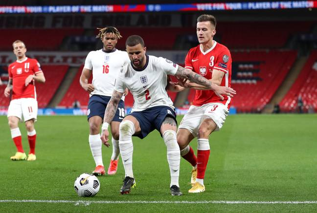Walker started against Poland, before Reece James played right back as Walker moved central. Image: PA Images
