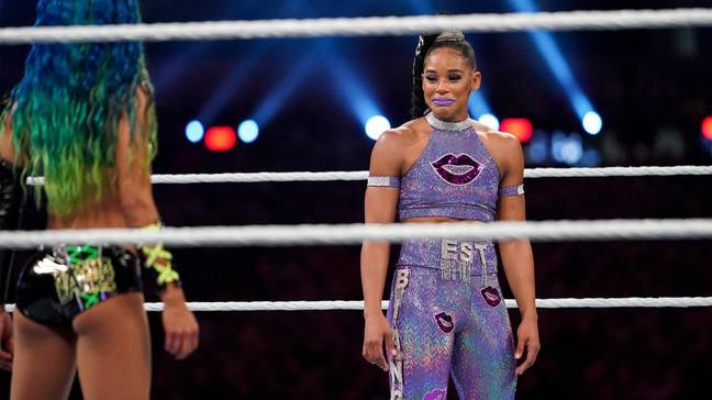 Belair and Banks had an emotional face-to-face before their match started. Image: WWE