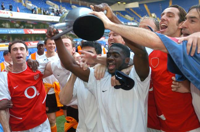 Kolo Toure with an inflatable version of the Premier League trophy. Image: PA Images