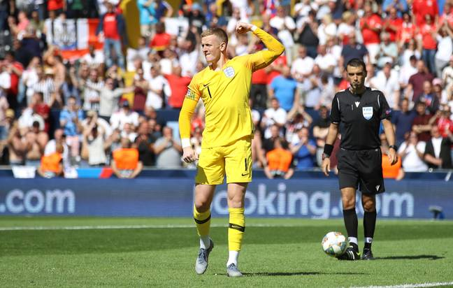 Pickford after scoring his penalty (Image Credit: PA)