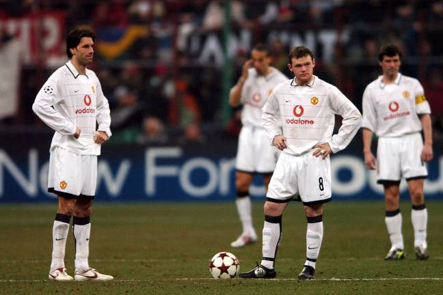Van Nistelrooy and Wayne Rooney sum up what it was like for United in that game. Image: PA Images