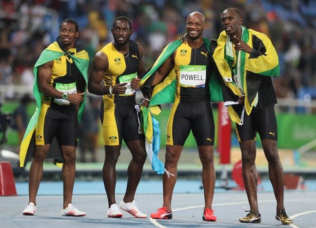Jamaica's legendary 2016 4 x 100 metre team of Yohan Blake, Nickel Ashmeade, Asafa Powell and Usain Bolt. Credit: PA