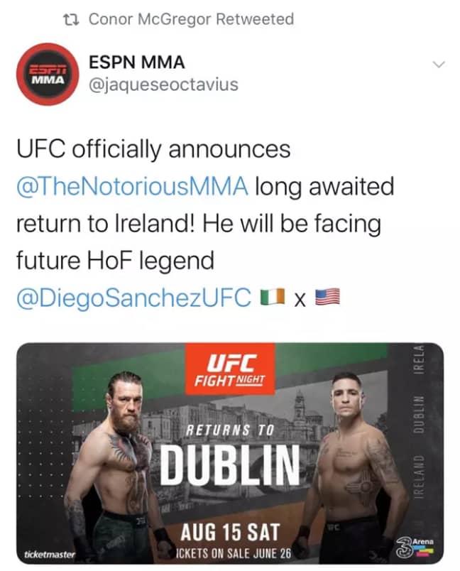 McGregor's retweet which has since been undone.