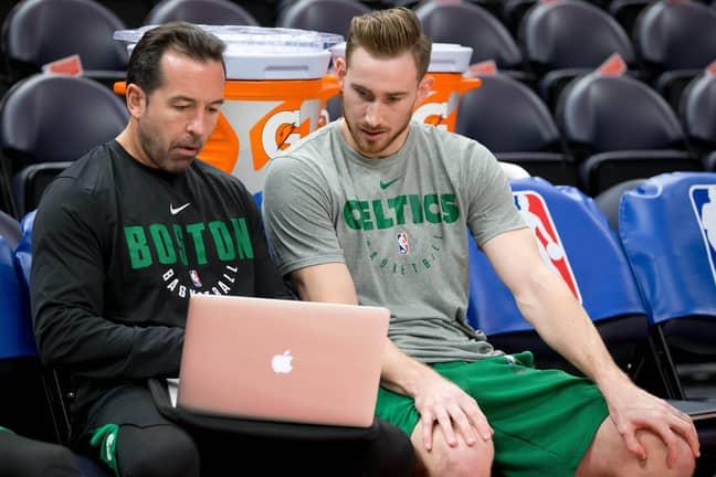 Scott Morrison with Gordon Hayward at the Boston Celtics. Credit: PA