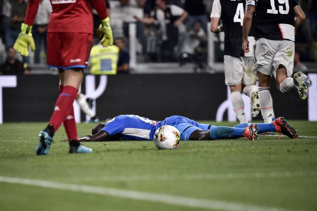 Koulibaly after putting the ball into his own net. Image: PA Images
