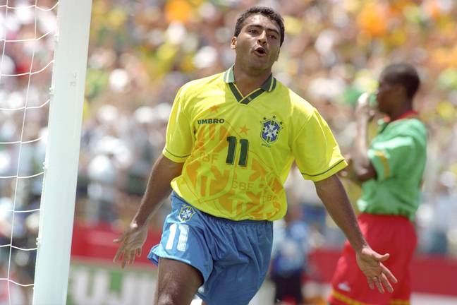 Romario celebrates a goal in the World Cup. Image: PA Images