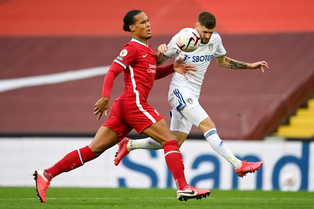 Van Dijk struggled in defence against Leeds. Image: PA Images