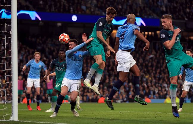 Llorente scores off his hip to knock City out of the Champions League. Image: PA Images