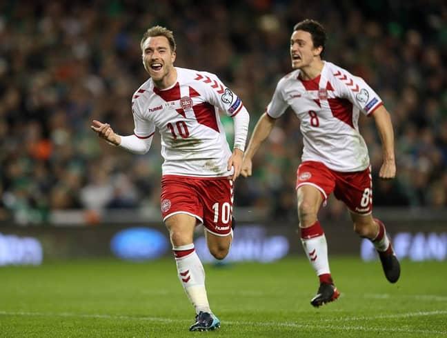Eriksen celebrates against Ireland. Image: PA Images