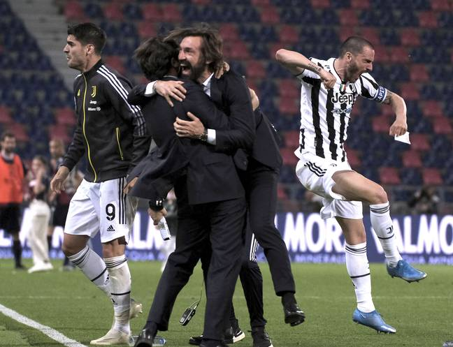 Juventus celebrate after winning against Bologna and securing a top four finish. Image: PA Images