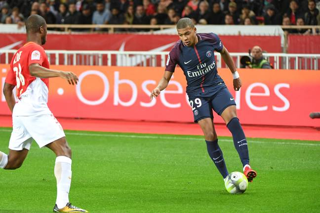 Mbappe in action against former club Monaco. Images: PA