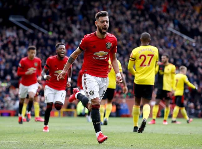 Fernandes celebrates his goal against Watford. Image: PA Images